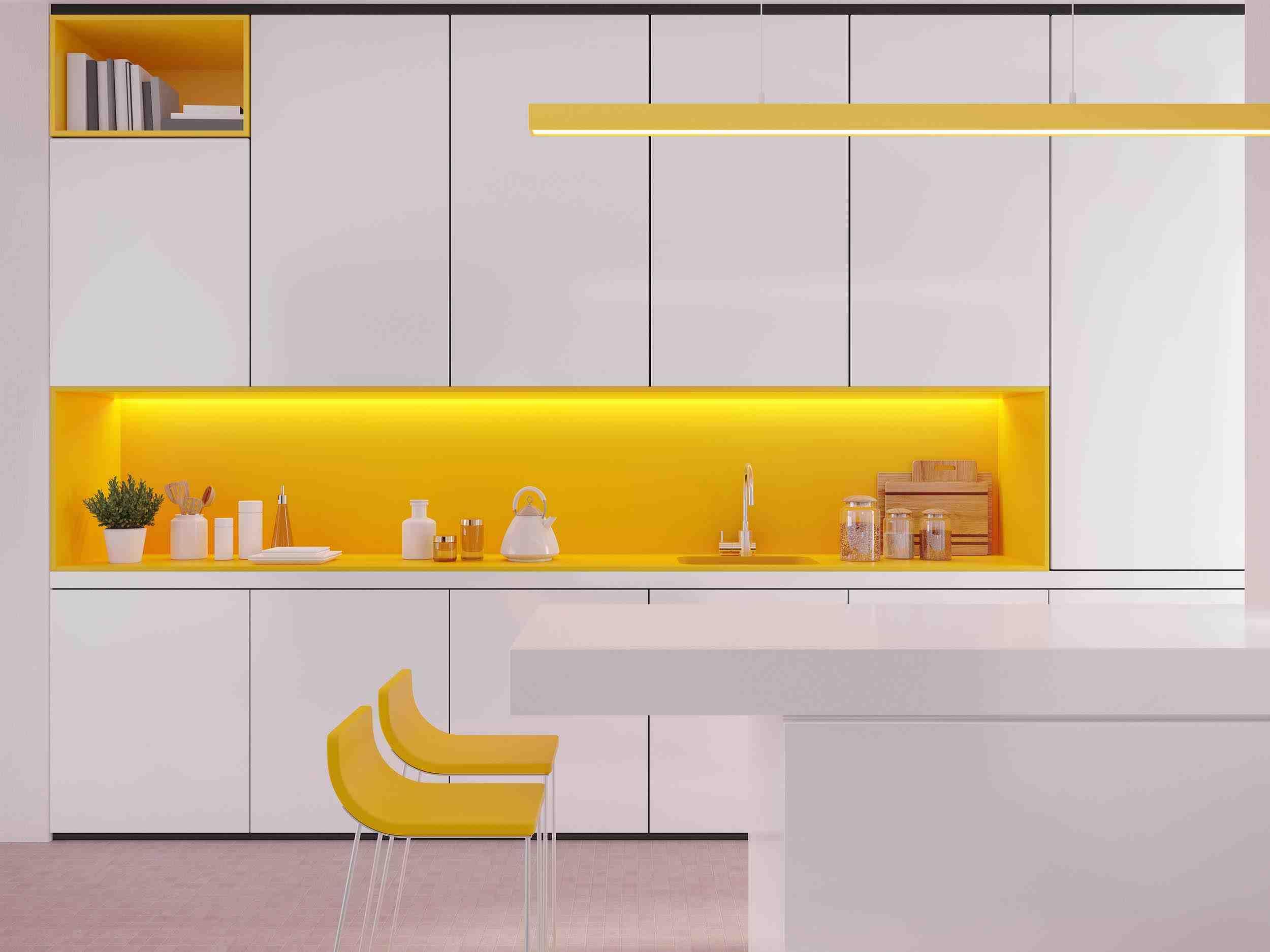 Yellow Wall Kitchen Design | Oasis Kitchen Cabinets